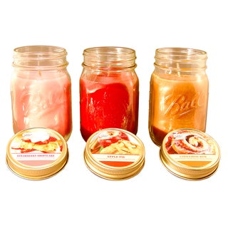 Bake Shoppe 12-ounce Apple Pie Cinnamon Bun and Strawberry Shortcake Scented Candles (Set of 3)