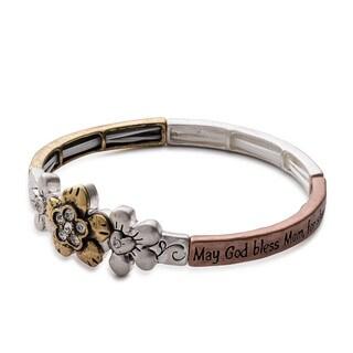 Floral Mothers Blessing Metal Art Stretch Bracelet