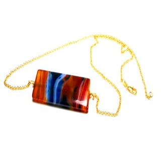 Trendy Agate Bar Rolo Necklace