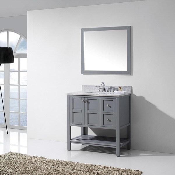 Virtu Usa Winterfell  Inch Grey Single Bathroom Vanity Cabinet Set