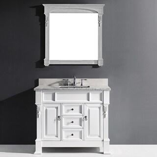 Virtu USA Huntshire 40-inch White Single Bathroom Vanity Cabinet Set