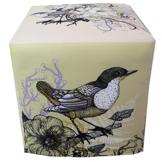 ArtHouse Innovations Colorful Birds and Flowers Cube 18x18 Ottoman Box
