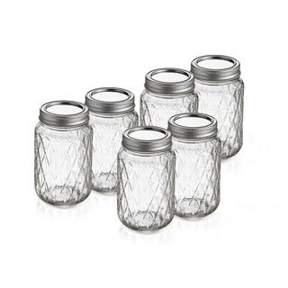 Quilted Mason Jars Set of 6 with Handles