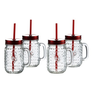 Rooster 16-ounce Mugs with Red Lids (Set of 4)