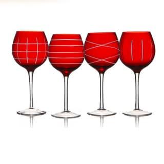 Fifth Avenue Crystal Medallion Crimson Wine Goblets (Set of 4)