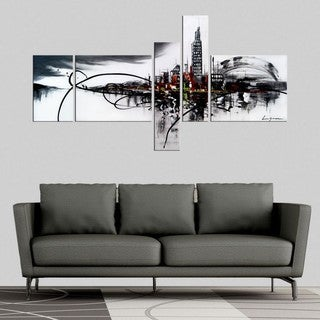 Hand-painted Black and White Architecture Painting