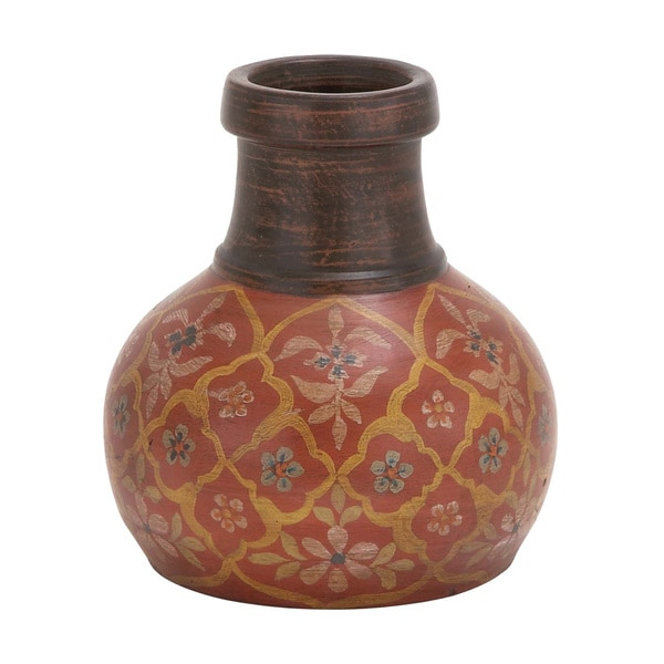 Small Floral Terracotta Vase