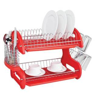 Home Basics 2-Tier Dish Drainer - Assorted Colors