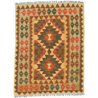 eCarpetGallery Kashkoli Red/Yellow Wool Kilim Hand-made Rug (2'11 x 3'10)