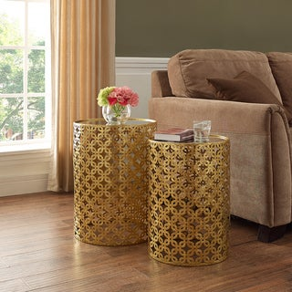 Oh! Home Set of Two Round Gold Nested Tables with Mirror Tops