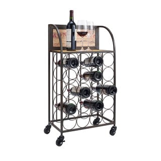 Oh! Home Wood and Metal Wine Rack with Wheels