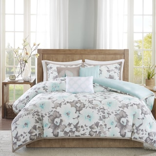 Madison Park Aria Aqua Cotton 6-piece Duvet Cover Set