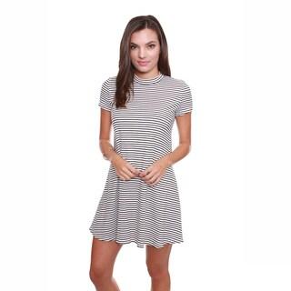 Popular Basics Juniors' Clothing Striped Keyhole T-Shirt Dress