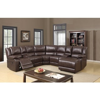 Chocolate Leather Gel 5-piece Sectional