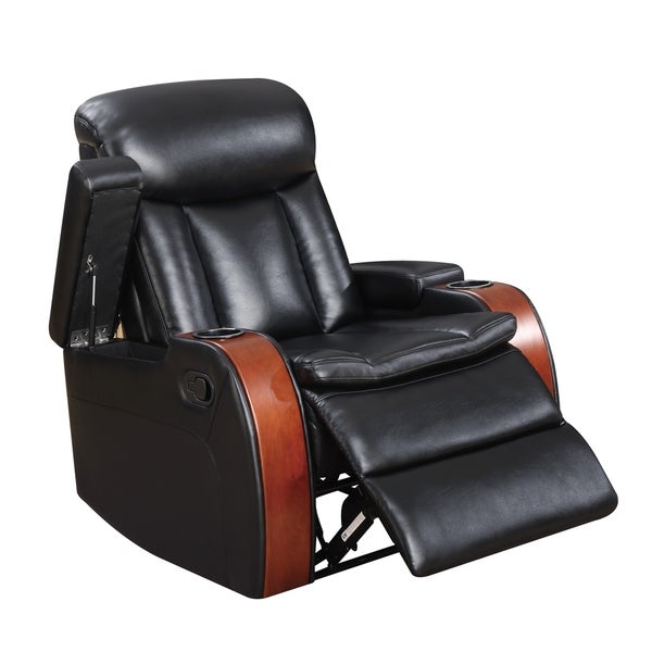 Cherry Wood and Black Leather Gel Blanche Recliner