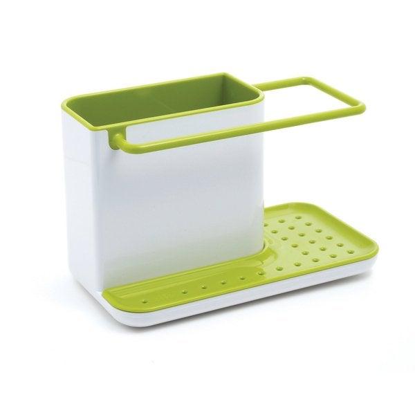 Joseph Joseph White and Green Sink Caddy, Kitchen Soap and Sponge Holder,