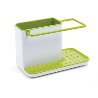 Joseph Joseph White and Green Sink Caddy, Kitchen Soap and Sponge Holder,