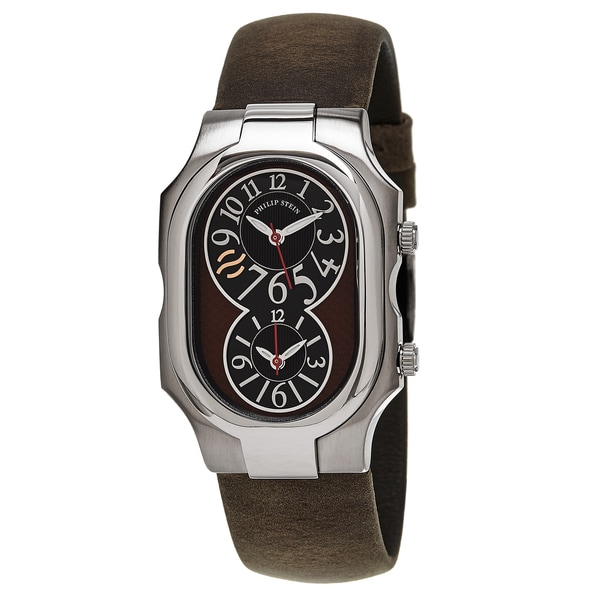 Philip Stein Men's 2-BRN-CABR 'Signature' Black/Brown Dial Brown Leather Strap Quartz Watch