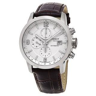 Tissot Men's T055.427.16.017.00 'PRC 200' White Dial Brown Leather Strap Chronograph Swiss Automatic Watch