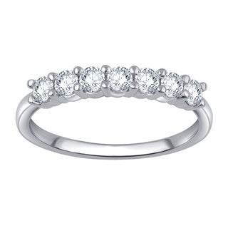 Divina 10k White Gold 1/2ct TDW 7-stone Diamond Anniversary Band (I-J, I2-I3)