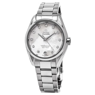 Omega Women's 231.10.34.20.55.002 'Aqua Terra' Mother of Pearl Diamond Dial Stainless Steel Swiss Automatic Small Watch