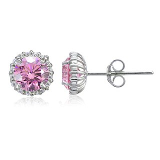 Icz Stonez Platinum Plated Sterling Silver 3 1/4ct TGW 100 Facets Colored Cubic Zirconia Halo Stud Earrings