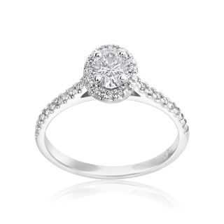 Andrew Charles 14k White Gold 1/2ct Oval Center and 1/4ct Round Diamond Halo Ring (H-I,SI2-I1)
