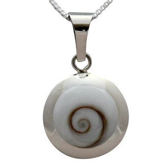 Sterling Silver Inlay Round Eye of Shiva Shell Classic Necklace (Thailand)