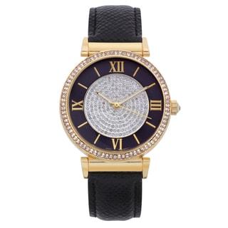 Lucien Pezzoni Women's Genuine Leather Marmi Crystal Dial Core Watch