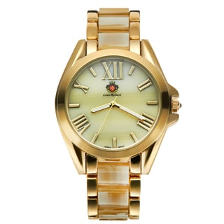 Louis Richard Women's Gold-tone Carra Exotic Bone Coated Quartz Watch