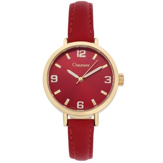 Chaumont Women's Red Soft Leather Sona Brushed Finish Dial Watch