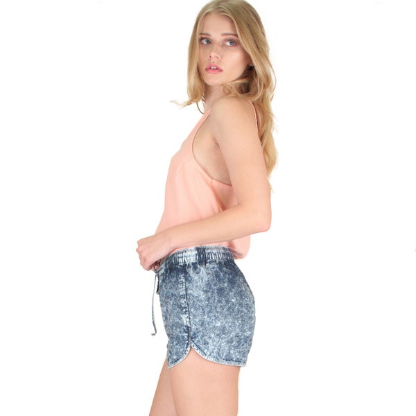 Acid Washed Drawstring Shorts