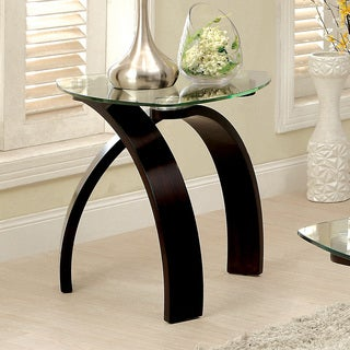Furniture of America Lexica Contemporary Glass Top End Table