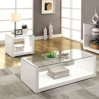 Furniture of America Shura Contemporary 2-piece High Gloss Accent Table Set