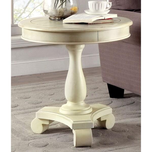 furniture of america madelle traditional pedestal base round side table 18417452 overstock. Black Bedroom Furniture Sets. Home Design Ideas