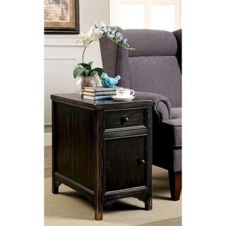 Furniture of America Cosbin Bold Antique Black Side Table