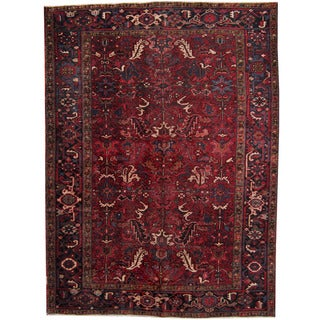 Herat Oriental Persian Hand-knotted 1940's Semi-antique Heriz Red/ Black Wool Rug (7'5 x 10')