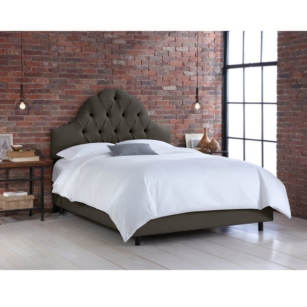 Skyline Furniture Slate Linen Arched Tufted Bed