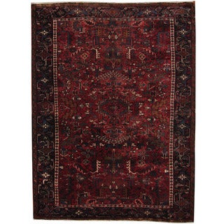 Herat Oriental Persian Hand-knotted 1940's Semi-antique Heriz Red/ Black Wool Rug (8'2 x 10'11)