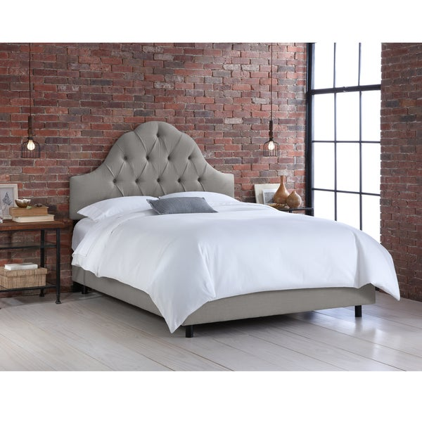 Skyline Furniture Grey Linen Arched Tufted Bed