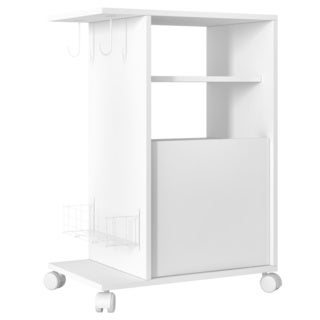 Accentuations by Manhattan Comfort Modern Marina Mobile Pantry with 3-Shelves, 2-Hooks and 1-Rack