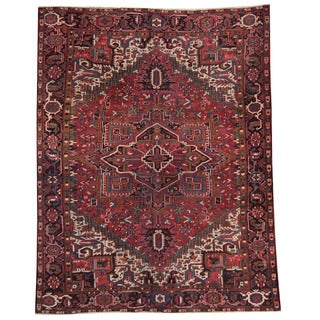 Herat Oriental Persian Hand-knotted 1930's Semi-antique Heriz Red/ Black Wool Rug (9'3 x 11'10)