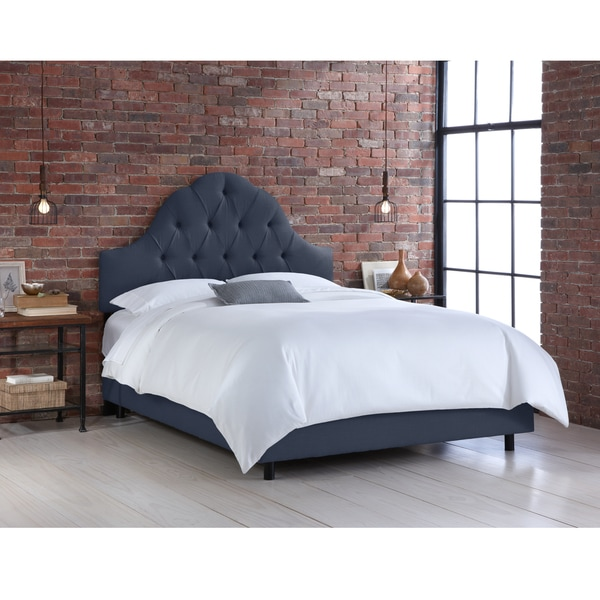 Skyline Furniture Navy Linen Arched Tufted Bed