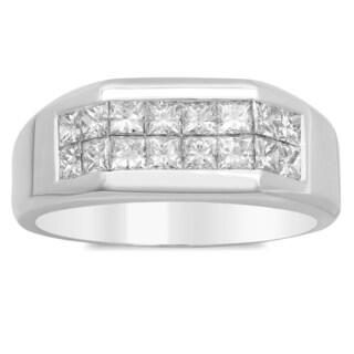 Artistry Collections 14k White Gold Men's 1 2/5ct TDW Diamond 2-row Ring (E-F, VS1-VS2)