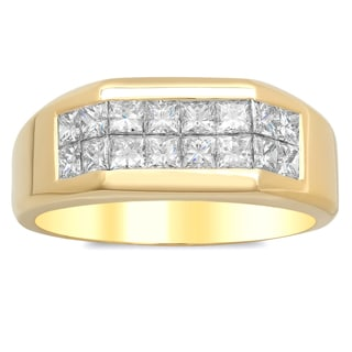 Artistry Collections 14k Yellow Gold Men's 1 2/5ct TDW Diamond 2-row Ring (E-F, VS1-VS2)