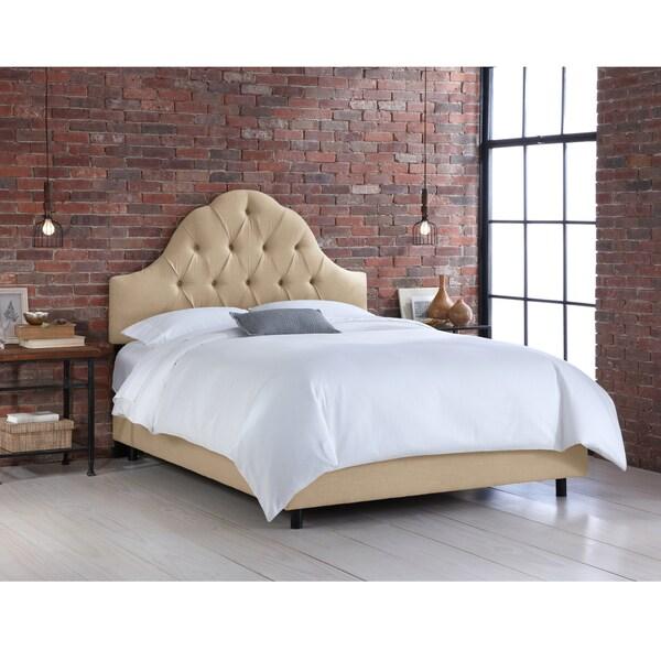 Skyline Furniture Sandstone Linen Arched Tufted Bed