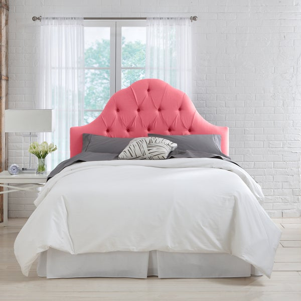 Skyline Furniture Coral Linen Arch Tufted Headboard