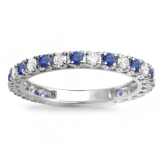 14k White Gold Round Blue Sapphire and 1ct TDW White Diamond Stackable Ring Wedding Band (H-I, I1-I2)