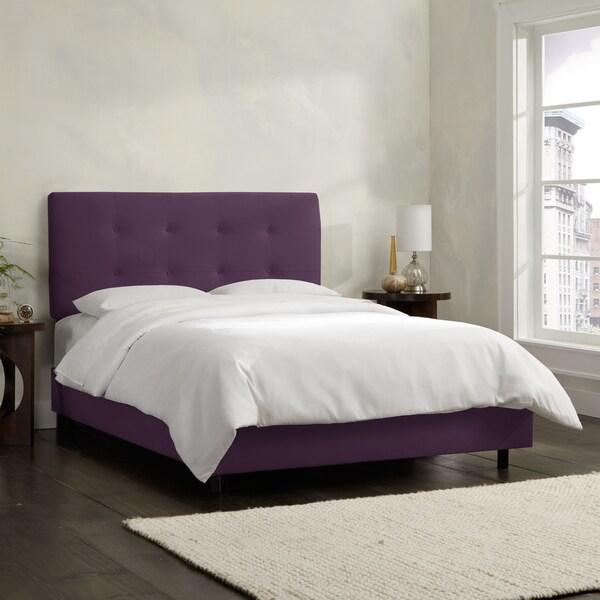 Skyline Furniture Aubergine Velvet Tufted Bed