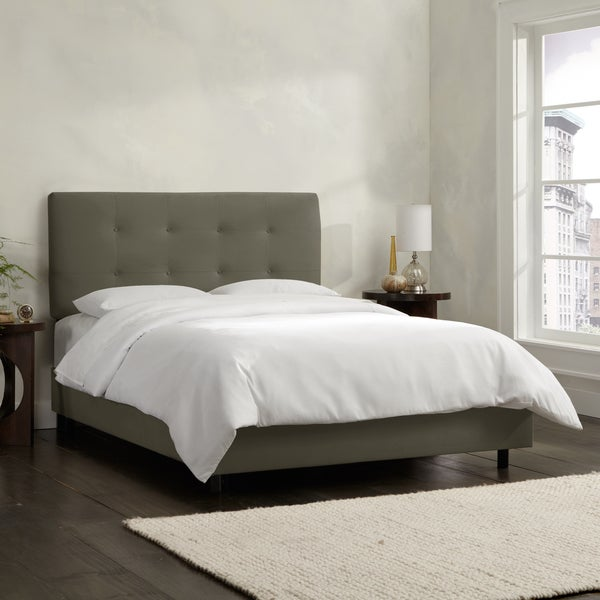 Skyline Furniture Pewter Velvet Tufted Bed
